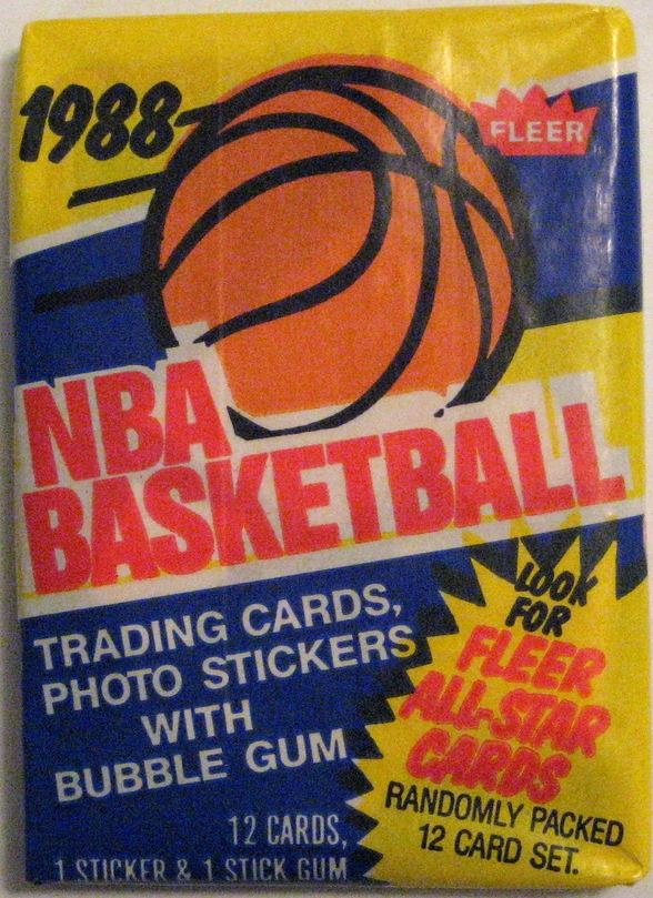 1988-89 Fleer Basketball Pack: Once again, this pack contains some great rookies including Scottie Pippen, Reggie Miller, and John Stockton. This pack is sort of the end of an era. 1989 marked the beginning of over-production of basic card sets, and soon Upper Deck would start things up, and Topps would get back in the fray. But until then, there's a nice set, and a good quality pack here.