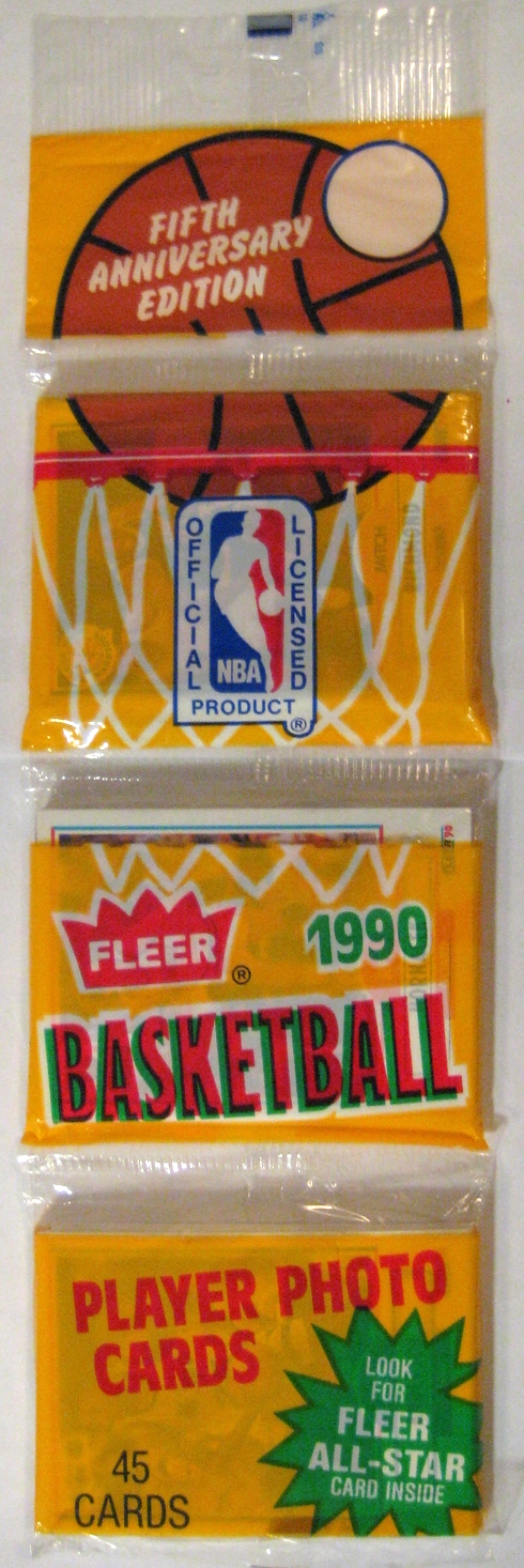 1990-91 Fleer Basketball Rack Pack: Normally, I'm not one for rack packs, but this one has a pretty unique design. The colours aren't the best, and the translucent nature of it affects the look of the pack a bit, but it's nevertheless ambitions and well-done.