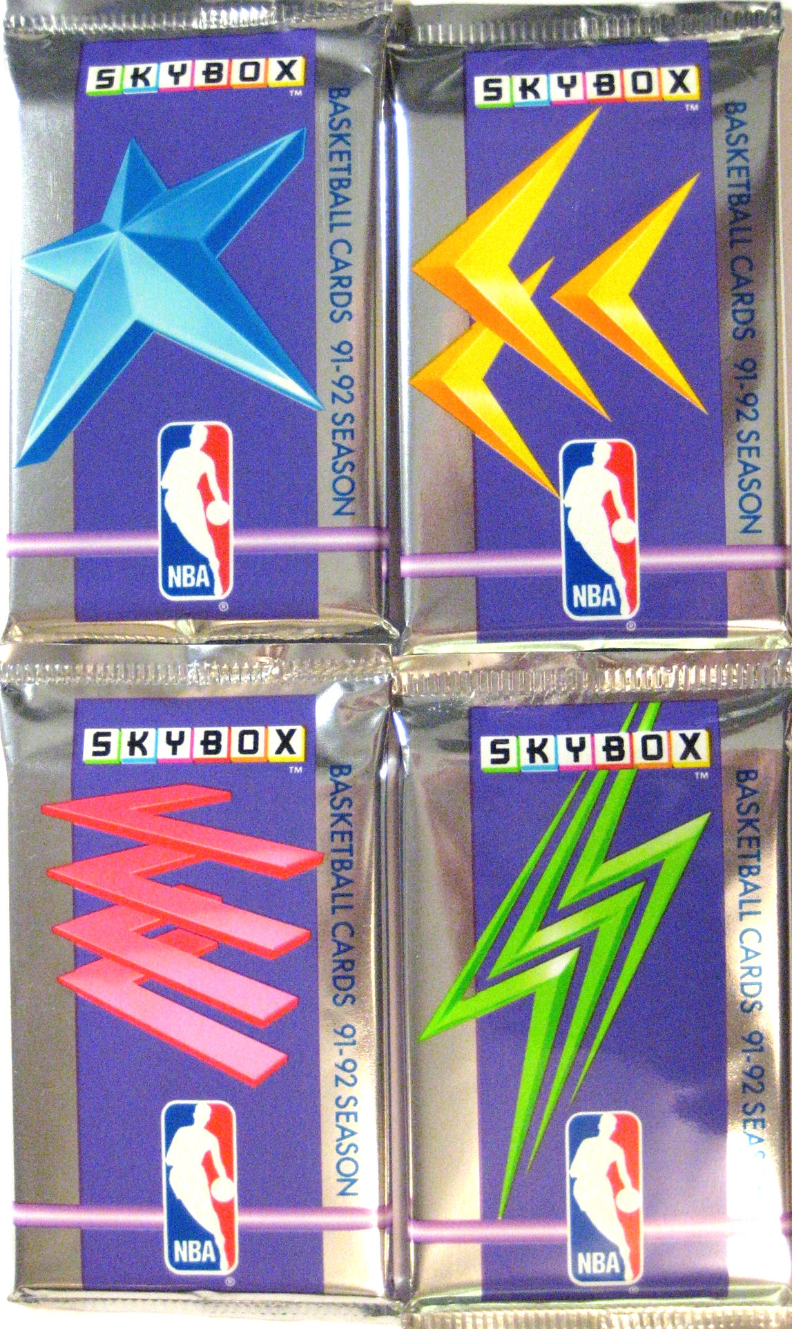 1991-92 Skybox Basketball Series 1 Pack: This is the second edition of skybox's foray into basketball cards, and the packs include 4 different designs. This series is particularly special to me, because these were the first cards that I purchased in a store when I was a kid.