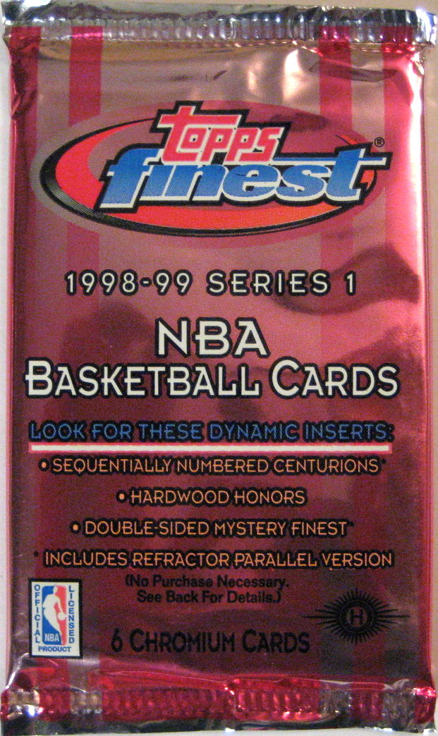 1998-99 Topps Finest Series 1 Basketball Pack: This pack (and the Series 2 one) are the last quality designs from Finest for a few years. This is also a pretty strong rookie class, with Vince Carter, Paul Pierce, and Dirk Nowitzki.