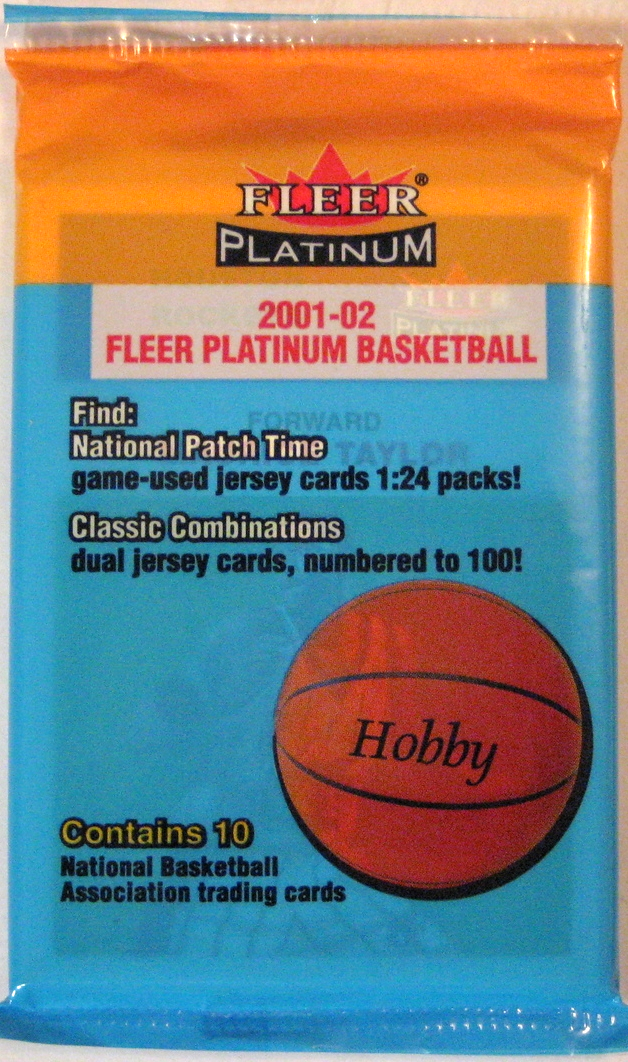 2001-02 Fleer Platinum Basketball Pack: This is a pretty basic, retro design. However, the colours (particularly the tan/yellow) don't crop up on a lot of packs.