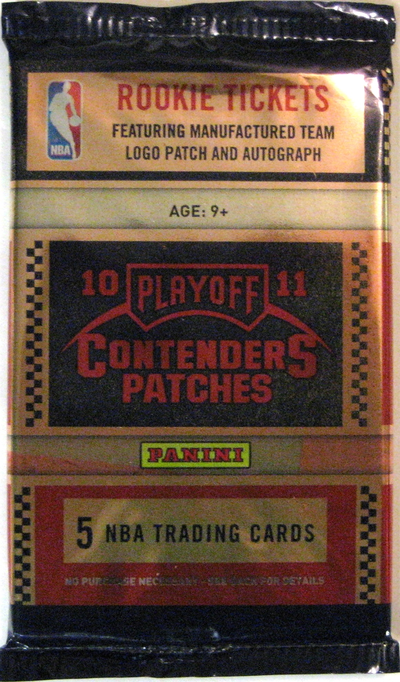 2010-2011 Panini Playoff Contenders Basketball Pack: This pack has a bit of a wooden vibe. It's a little busy, but the clean lines make it work.