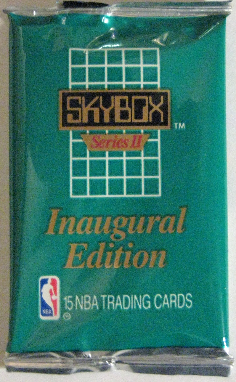 1990-91 Skybox Series 2 Basketball Pack: A nice colourful companion to the series 1 pack. Cards from the early 90s are largely worthless, but the pack designs are still pretty fun.