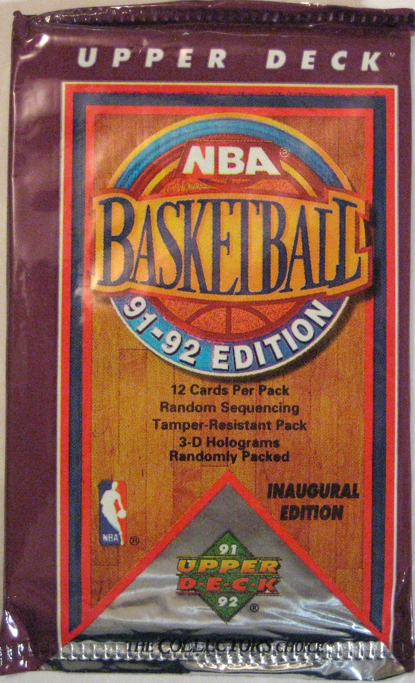 1991-92 Upper Deck Series 1 Basketball Pack: This is the inaugural pack from Upper Deck. Although this pack is a little off-centred, it's a nice addition to the collection.