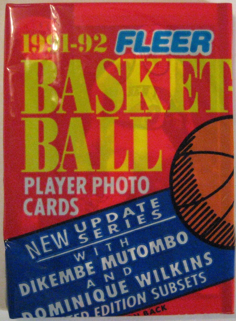 1991-92 Fleer Series 2 Basketball Pack: This is a cello pack, with a similar style to the series 1 pack. Again, this one has a bit too much writing for my taste, but it's nice nonetheless.