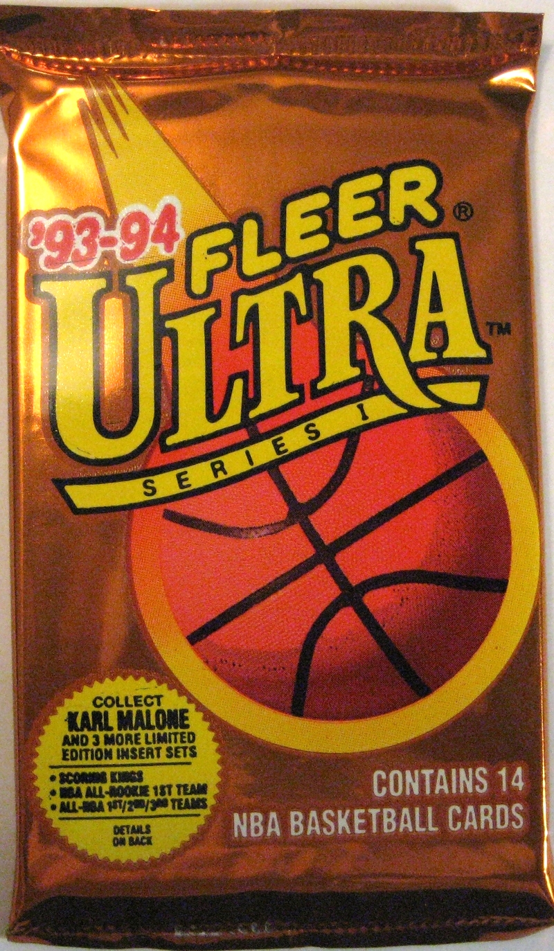1993-94 Fleer Ultra Series 1 Basketball Pack: This copper-coloured pack is a nice edition from Fleer Ultra. Great use of colour, and shows how a metallic-style finish can be used to great effect.