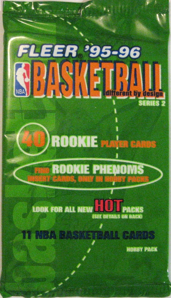1995 Fleer Series 2 Basketball Pack: A very unique shade of green that is basically never used as the base of a pack. Only thing close is the 87-88 Fleer pack, and even that isn't quite the same. This is a classic mid-90s vibe.