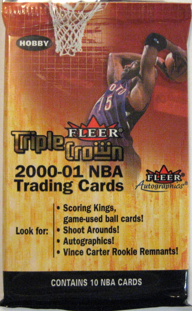 2000-01 Fleer Triple Crown Basketball Pack: I bought this pack online sight-unseen. It has Vince Carter on it, which is not my favourite, but it's an okay addition to the collection.