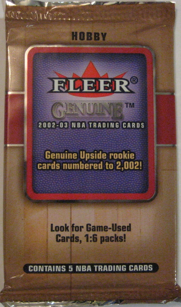 2002-03 Fleer Genuine Basketball Pack: This is not quite as nice as they other 2002 packs, but still a nice design from Fleer.