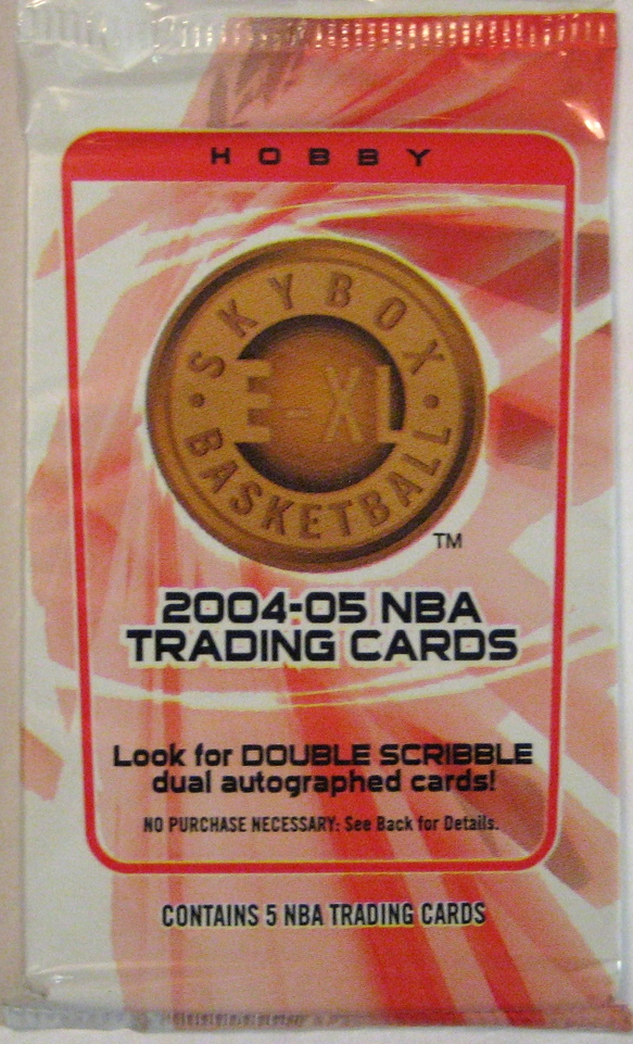 2004-05 Skybox E-XL Basketball Pack  : This is a pretty unique design among packs. Very abstract, and soft colours for a basketball pack.