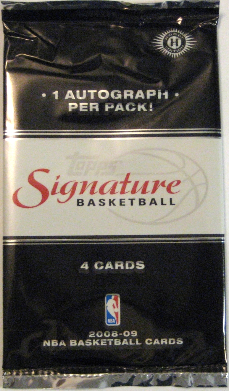 2008-09 Topps Signature Basketball Pack: This is a nice, simple design from Topps. They had a solid run of packs with limited colour between this pack and the earlier luxury box packs.
