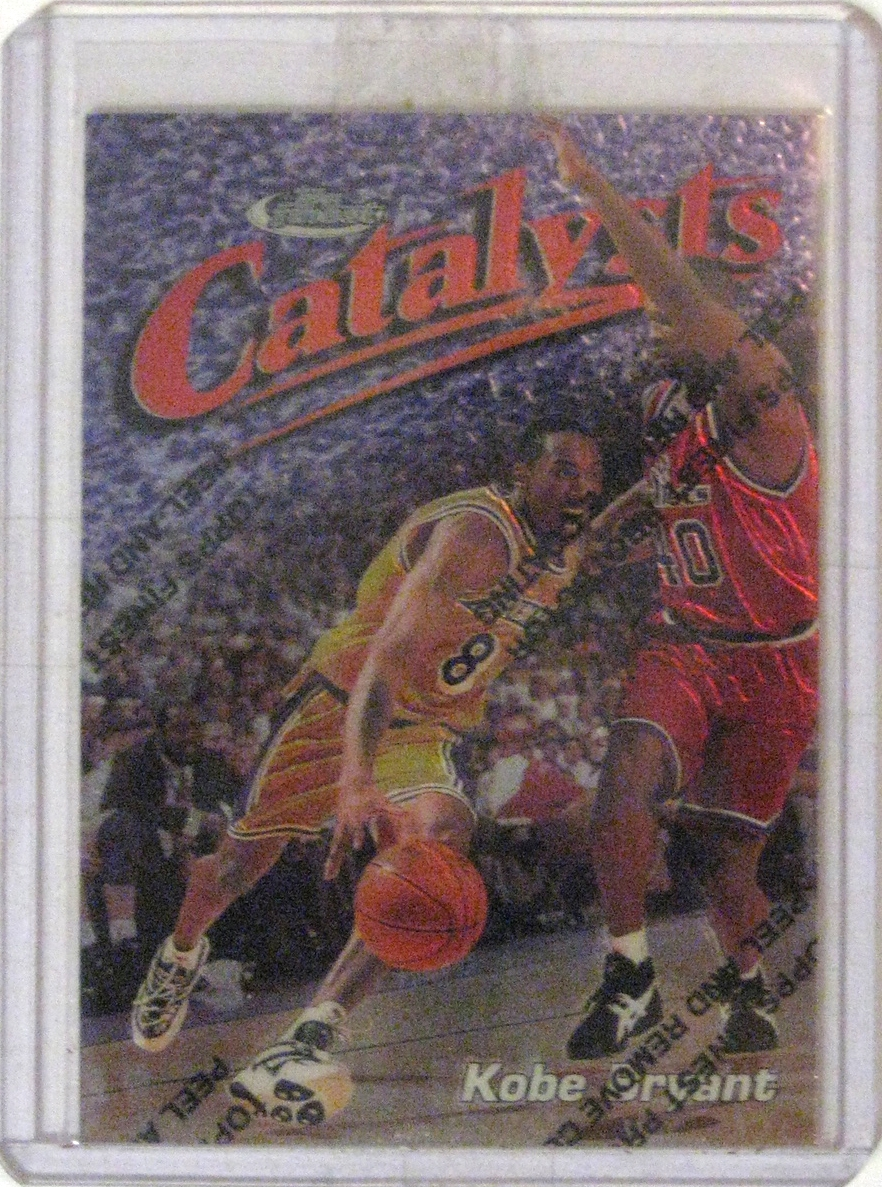 1997-98 Topps Finest #137 Kobe Bryant: I don't know if there's a Topps Finest Kobe card that I don't like. This picture is kinda weak, but it's a gorgeous card.