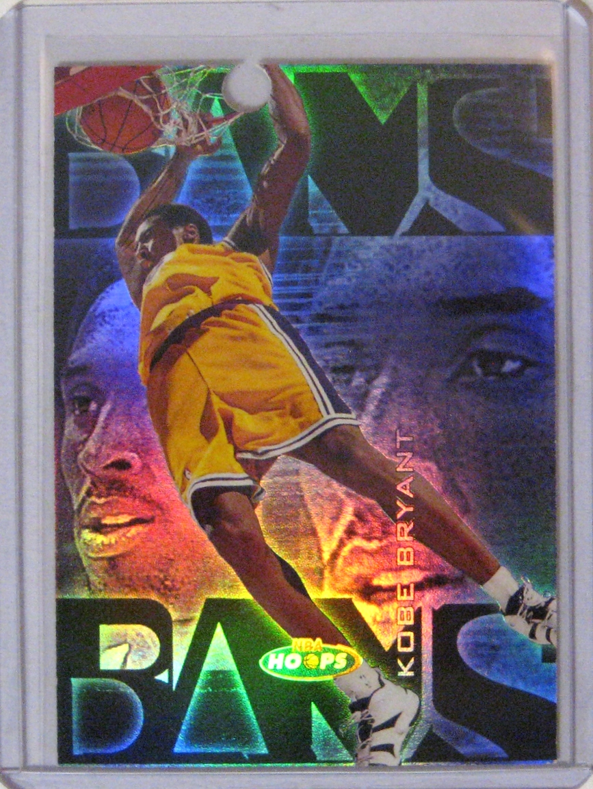 1998-99 NBA Hoops Bams Proof Kobe Bryant: This is a short-printed set, with only 250 cards produced. This is a true rarity for a set from the 90s. However, making this particular card even more rare, is the fact that it is a proof card. You may notice that there is a hole punched in the top of the card. See the explanation below the photo of the card's reverse ---->
