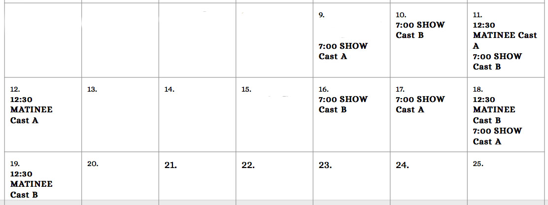 A/B Cast Calendar