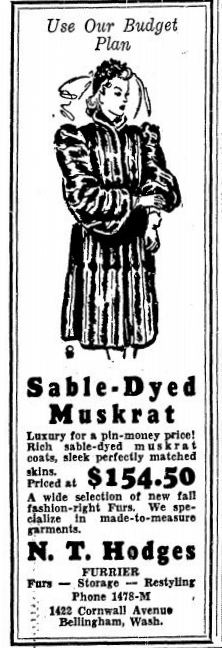 "1940 Bellingham Herald ad - ""Sable-Dyed Muskrat"""
