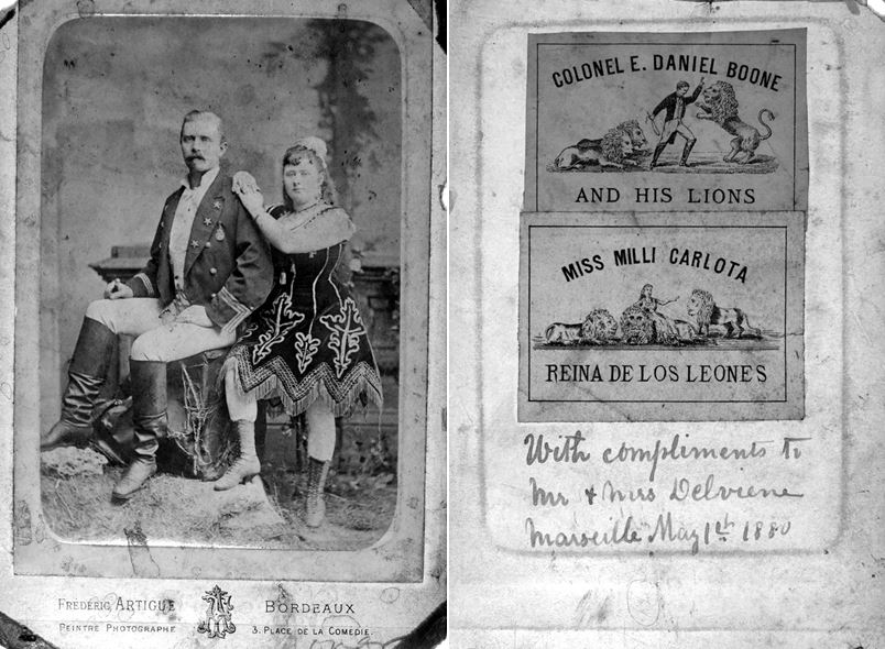 Colonel E. Daniel Boone and Miss Carlota performed with their trained lions and dogs.