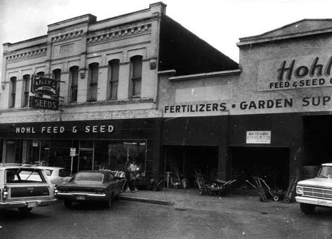 Neighboring Hohl's Feed and Seed as it looked in the 1980s. These buildings also suffered a fire in 2019.