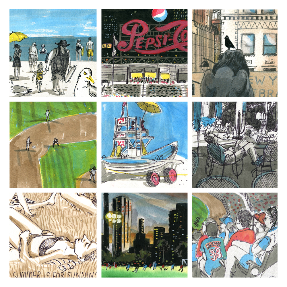 details of drawings from, Long Island, Citi Field, Bryant Park, The Flat Iron Building, Long Island CIty and Roosevelt Island.
