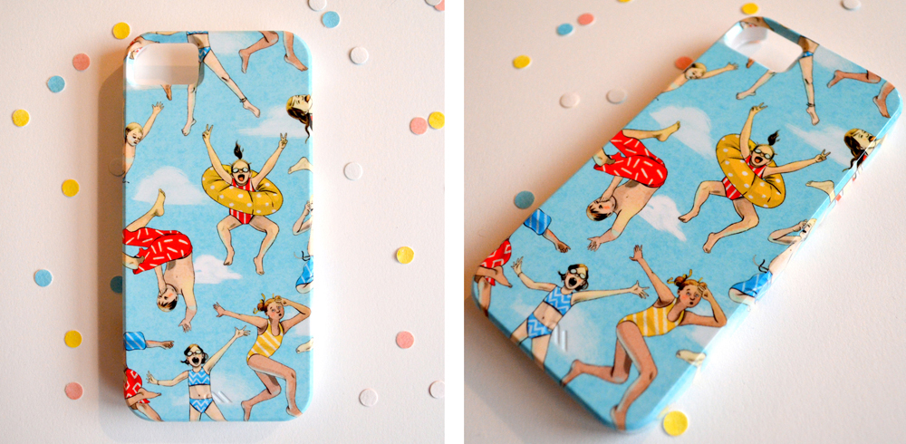 There are cell phone cases in my  etsy  and  society6  shop (which also has a couple of other cool items like tote bags!)