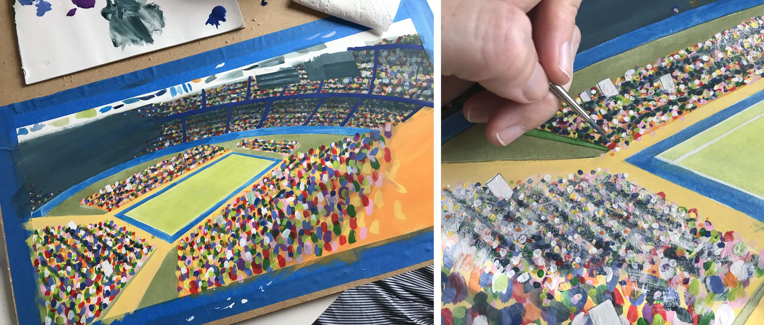 I will send a free book to whoever can guess what TV show I watched while painting the crowd scenes.