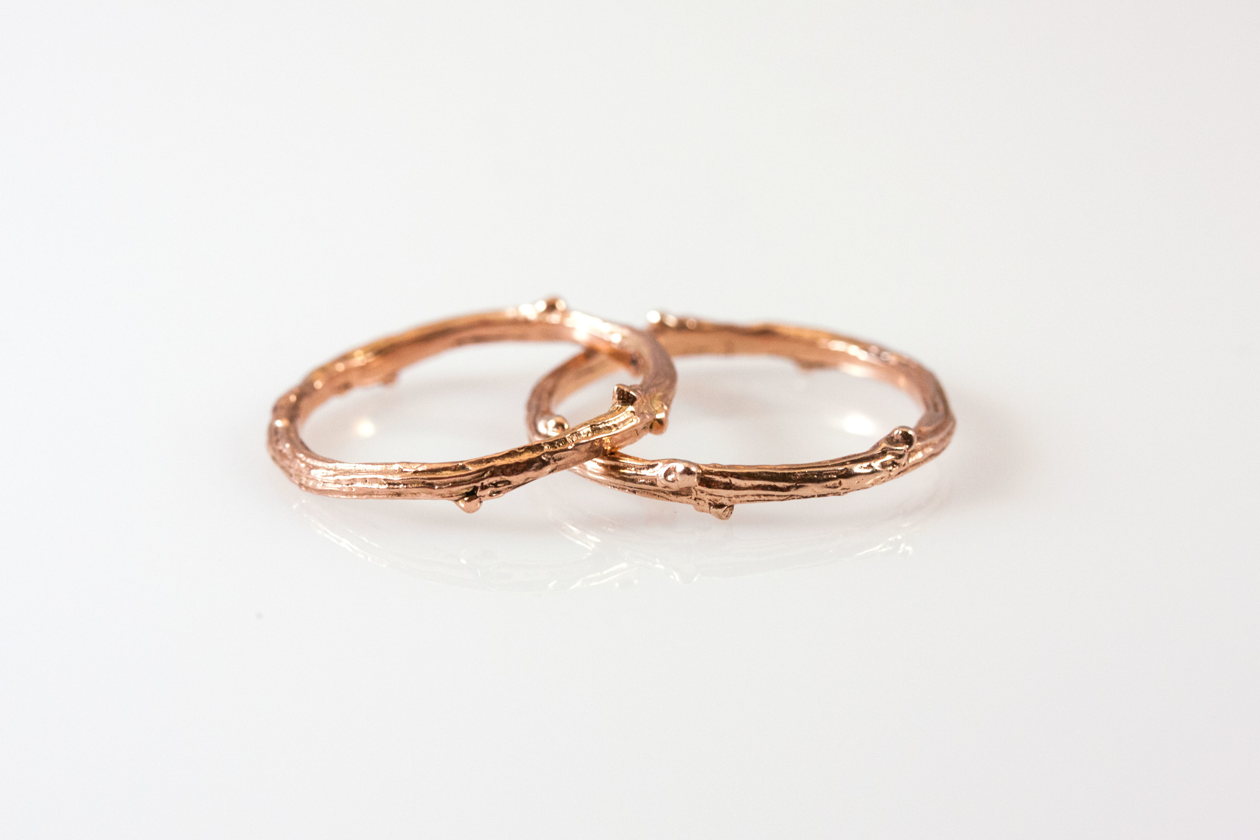 14kt rose gold twig rings