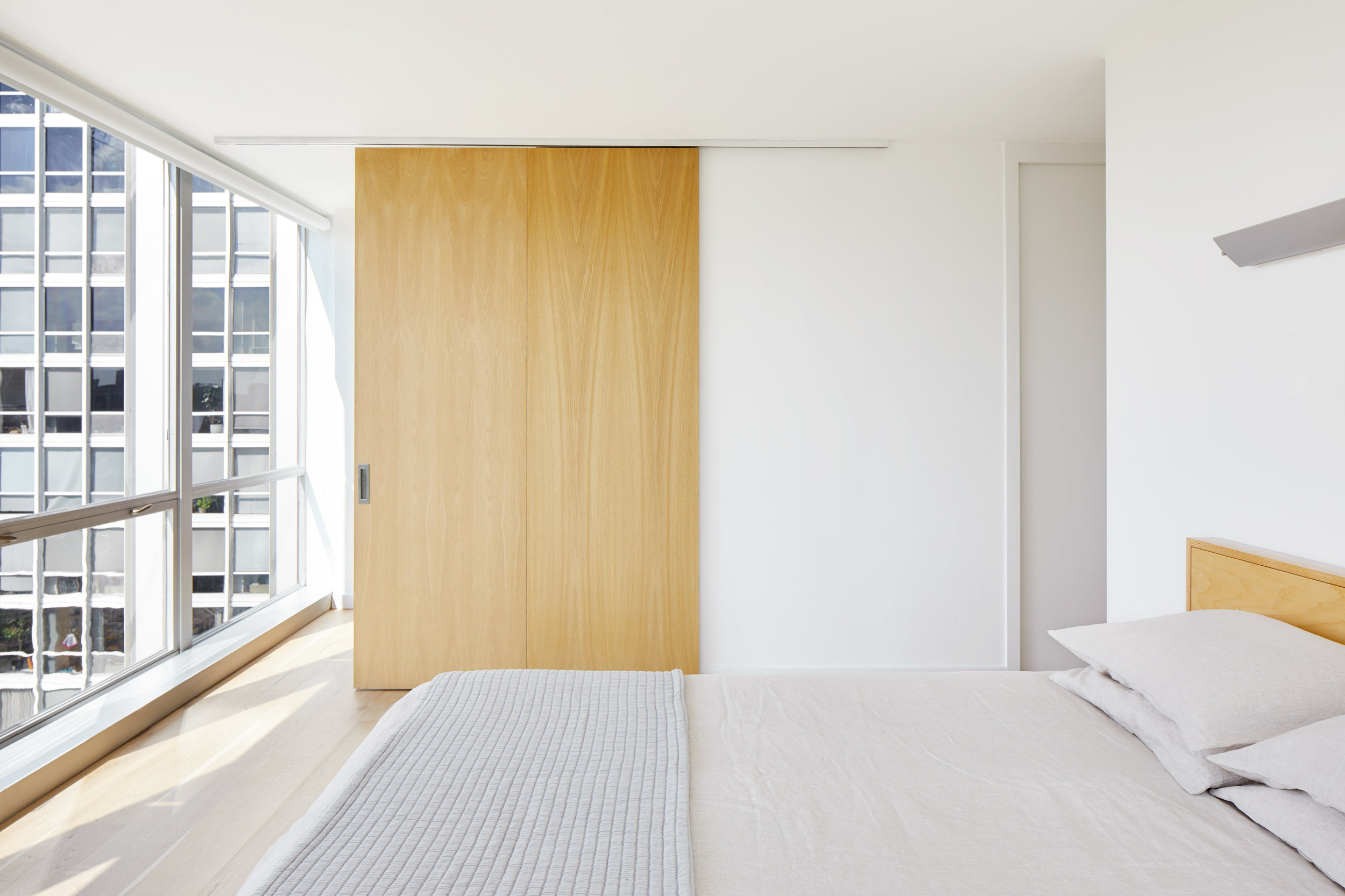 White / Oak Bedroom - Apartment Renovation, Chicago
