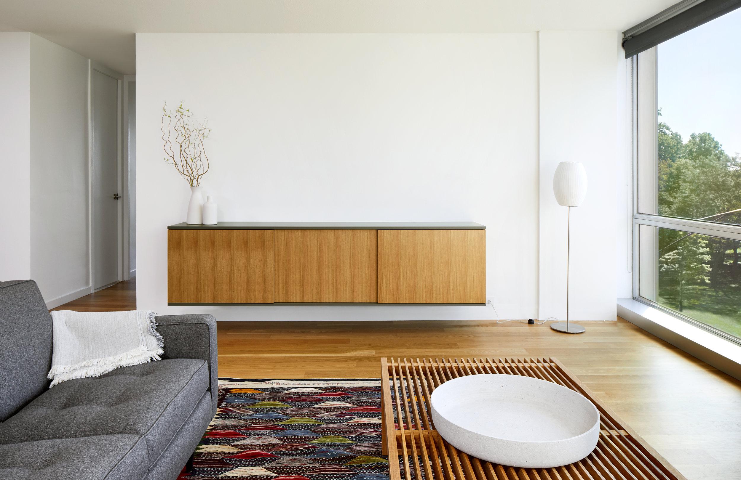 Grey / Oak Living Room - Apartment Renovation, Chicago