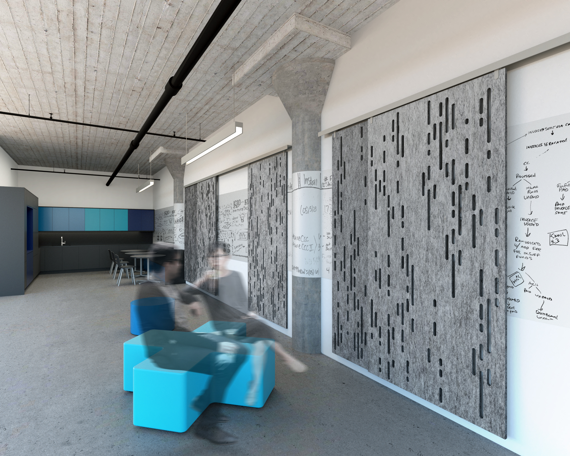 View of Collaborative Workspace - Commercial Interior Renovation