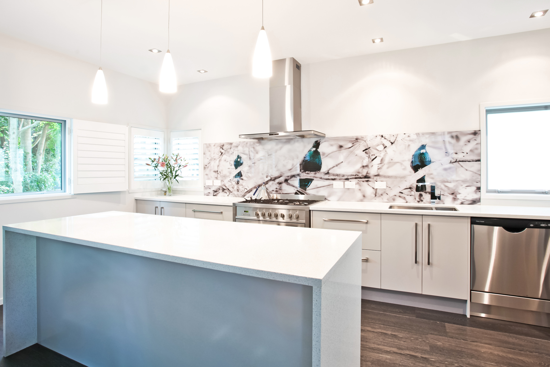 'Tui Song' printed image on glass splashback by Lucy G