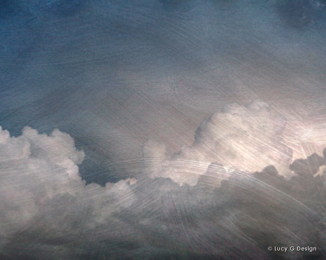 'Clouds with overlay' 60x75cm glass wall art
