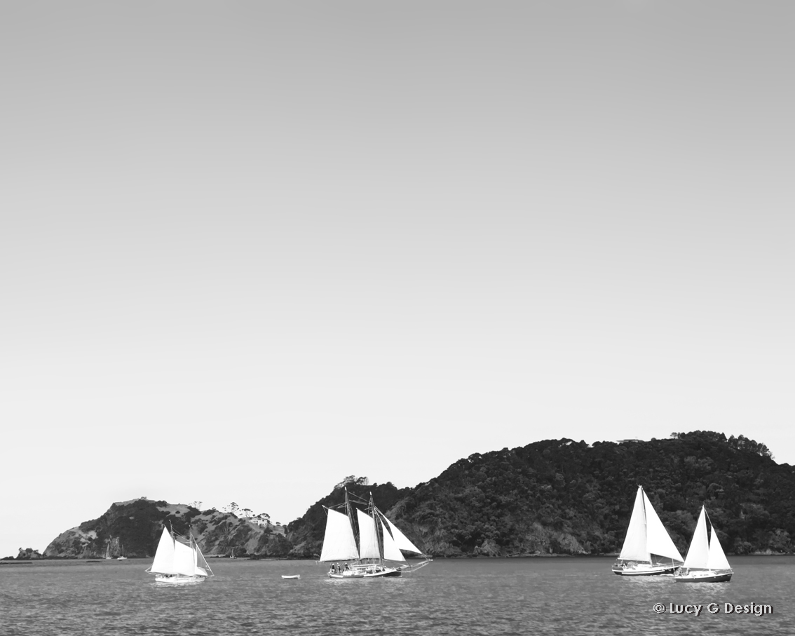 'Sailing yachts' b/w 60x75cm glass wall art