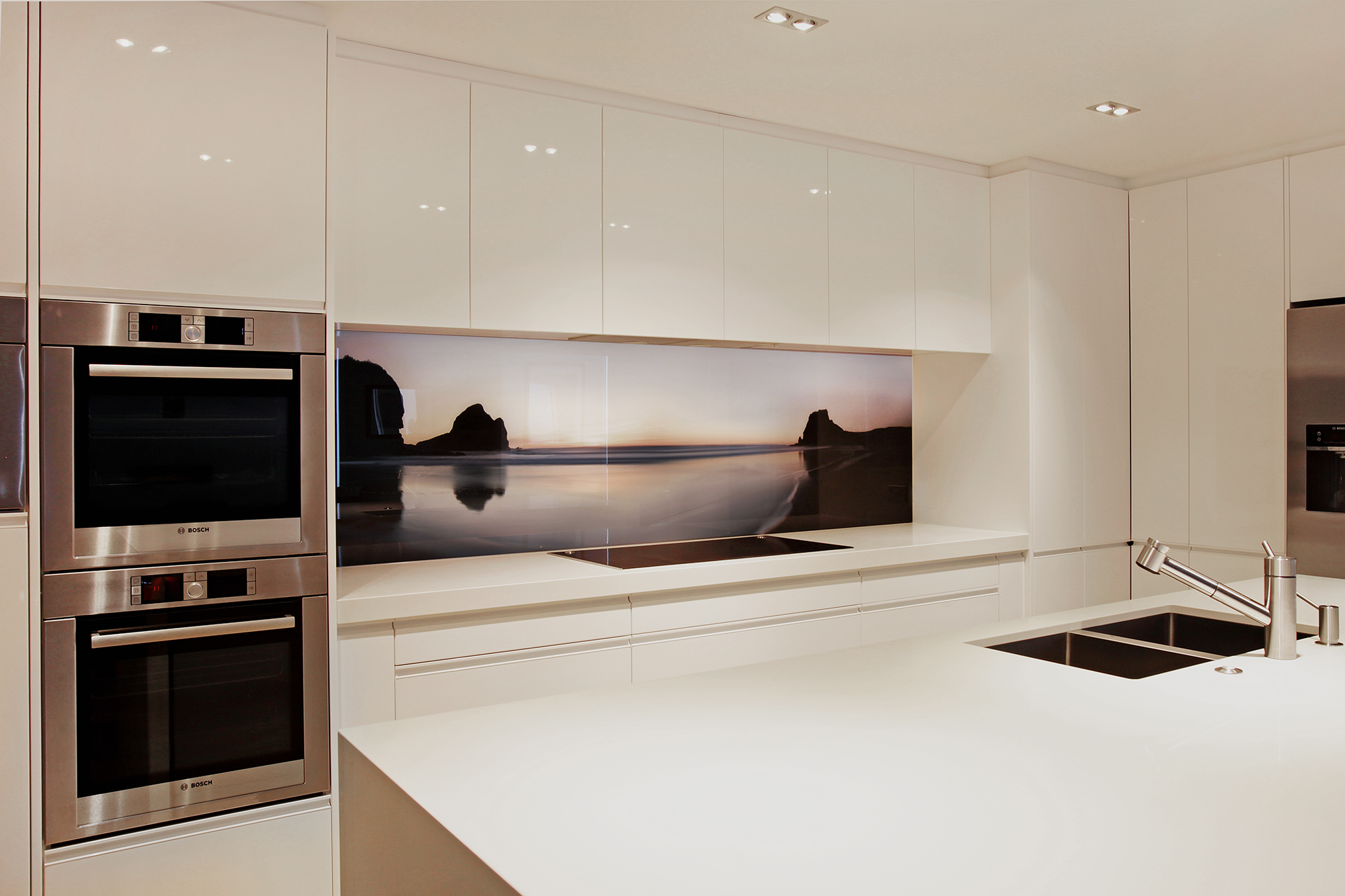 Piha Sunset printed image on glass splashabck