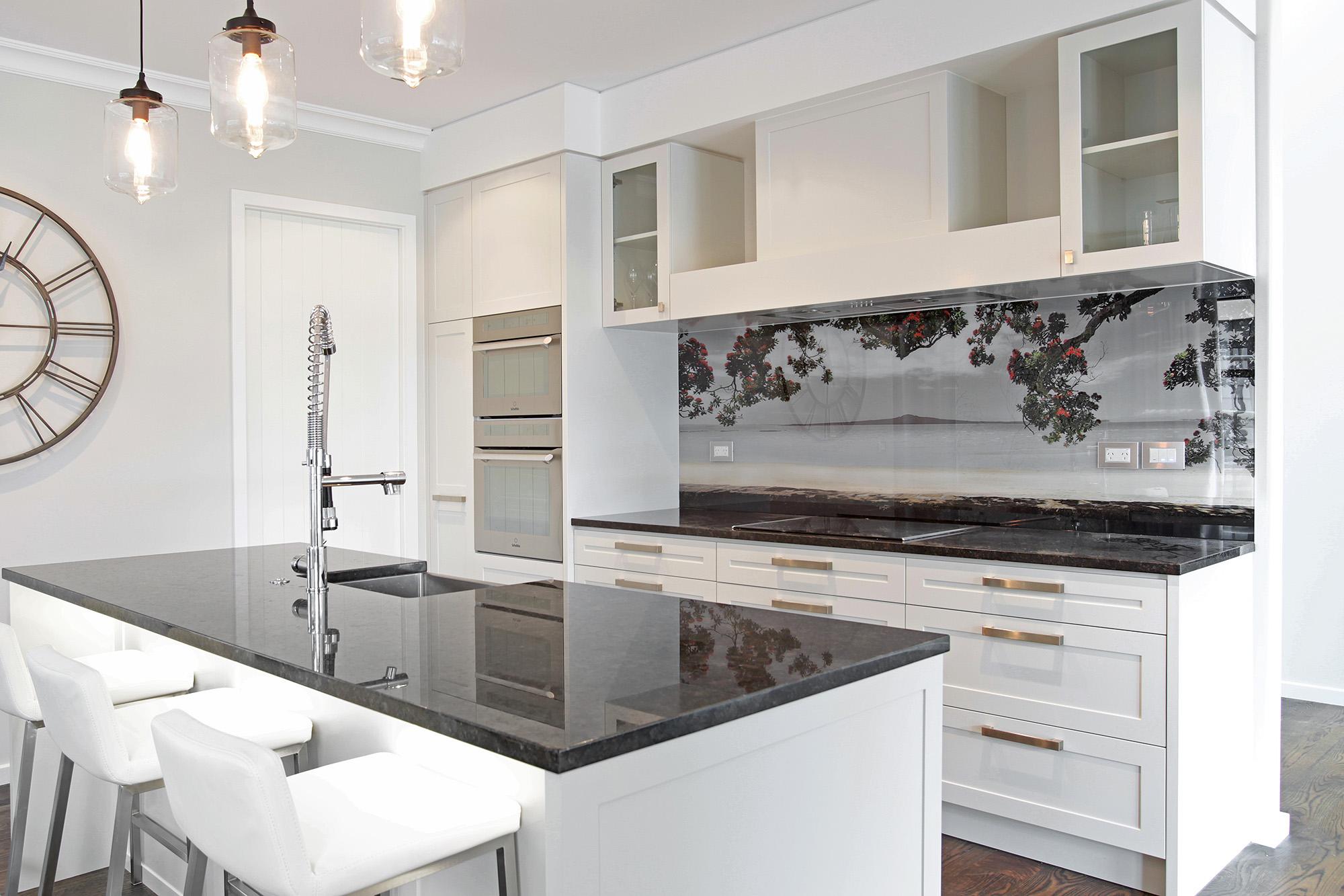 Kohi paradise rangitoto printed image on glass kitchen splashback