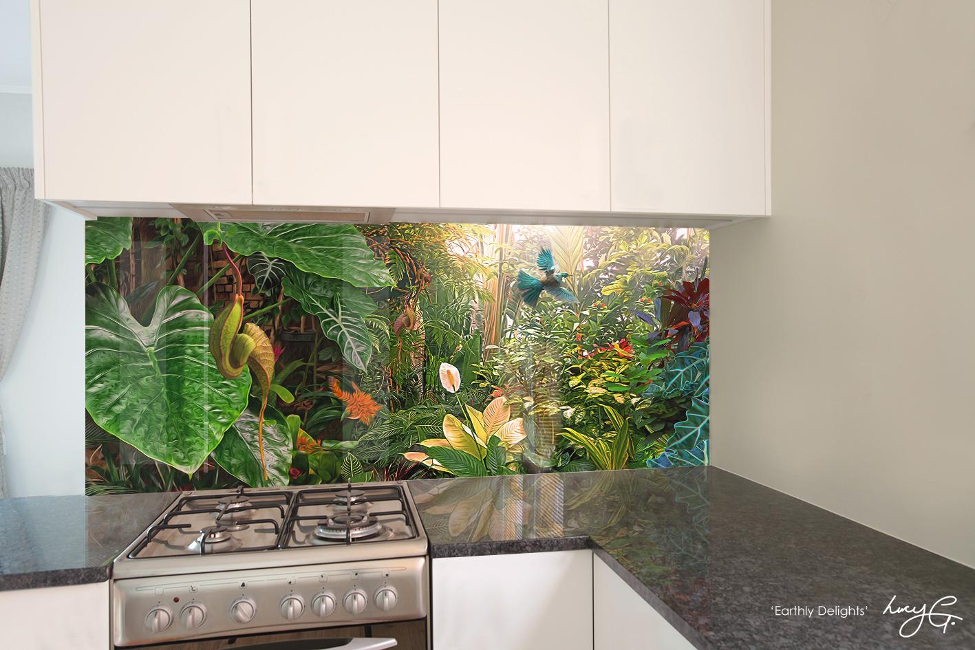 'Earthly Delights' printed image on glass splashback