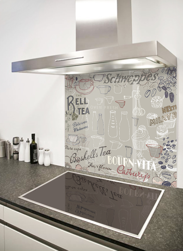 Retro kitchen splashback - beige