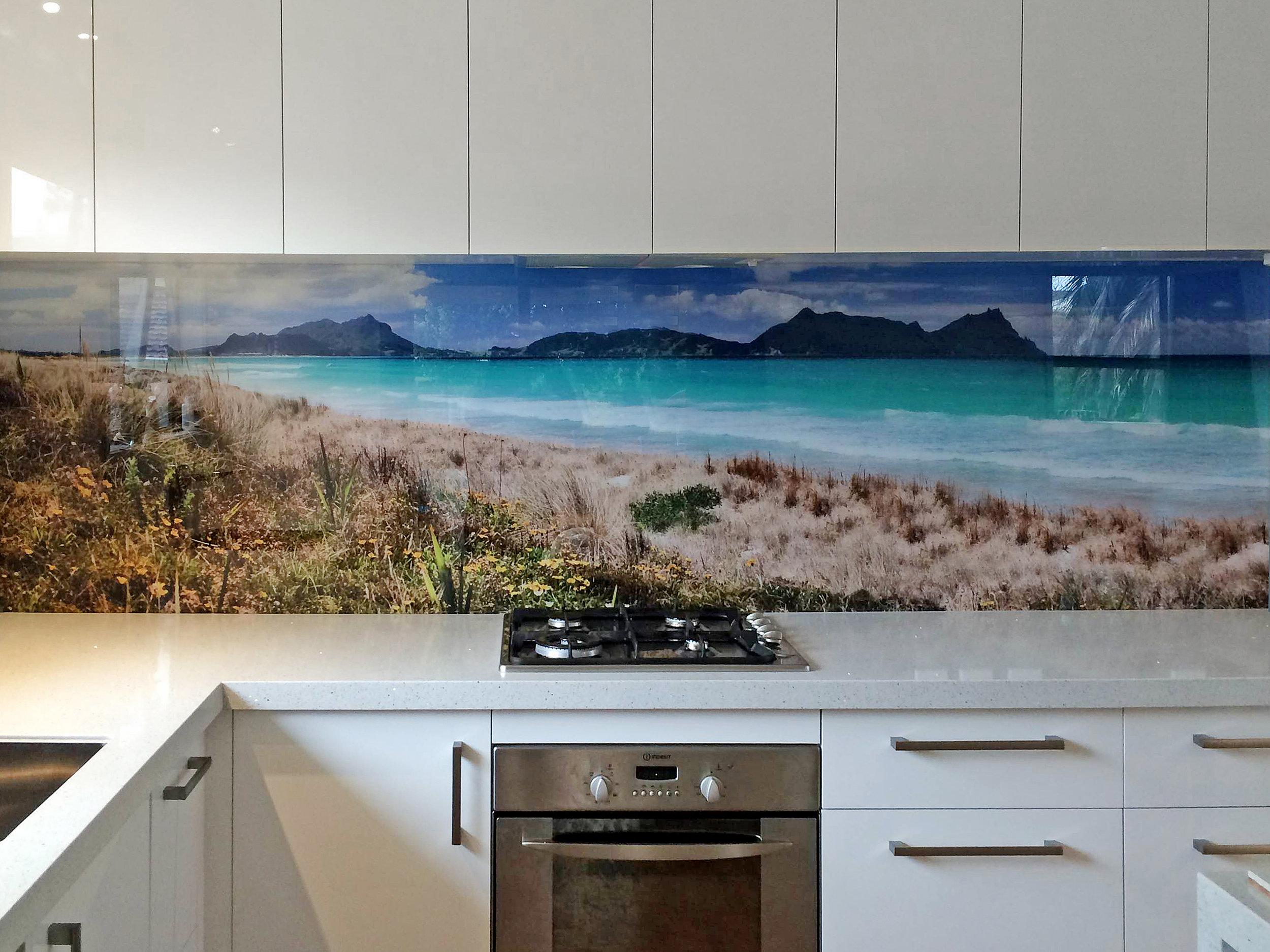 Ruakaka printed image on glass splashback