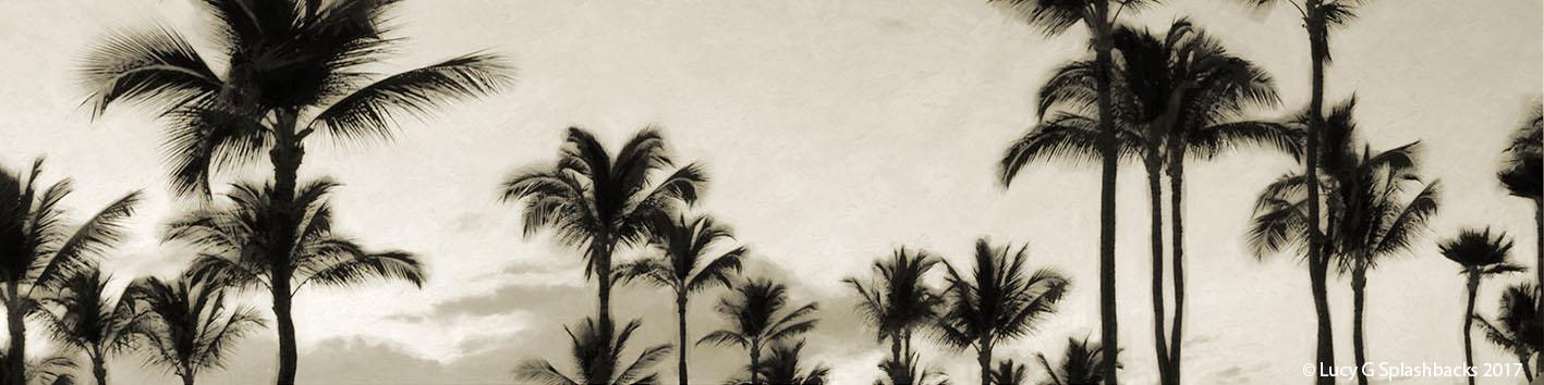 'PALM TREES' sepia (digital painting) printed image on glass splashback
