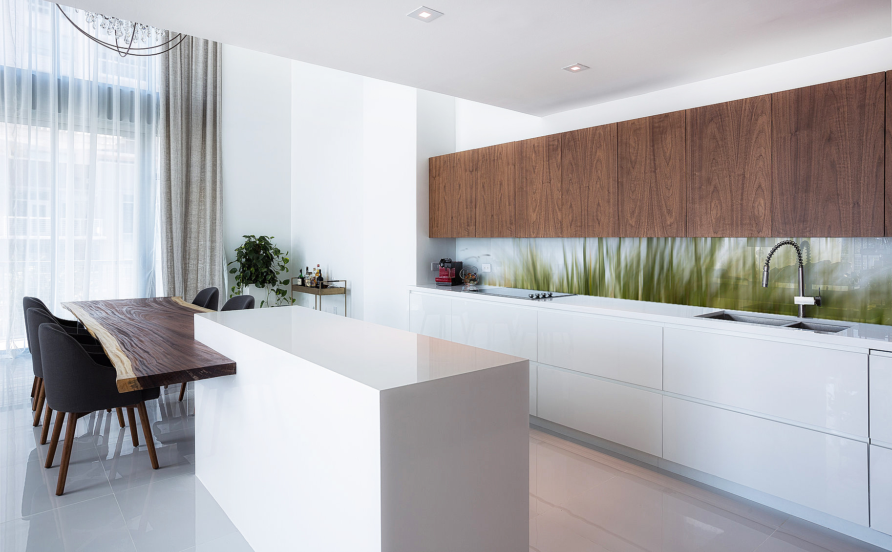 Printed image on glass kitchen splashback  - Melbourne,  Australia - 'Green Grasses'