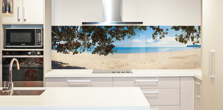 Printed image on glass splashback , Sydney, Australia - 'Summer Beach View'