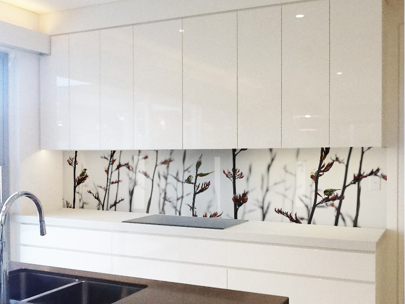 printed image on glass kitchen splashback kohi paradise rangitoto lucy g