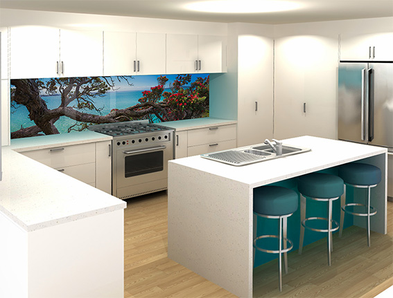 Feature colours - This kitchen had a feature colour of cyan blue to the bar front so this gave the customer guidance when looking for a complimentary splashback image.Image : Eternal Home