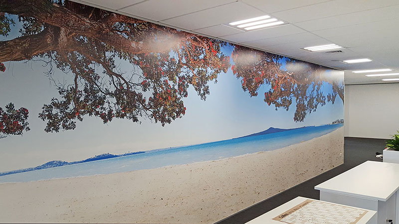 KOHI PARADISE - wallpaper mural - - 9 x 3m- Price range - $2800 - $2999 + gst depending on location and complexity of installation.- Many other beach panoramas are available at this size - please enquire.-This office space with little natural light wanted to add a feature to bring the outdoors in.