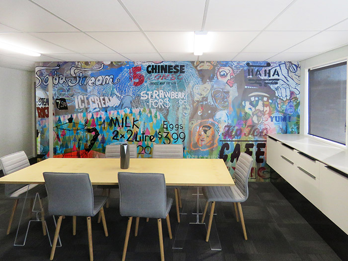 WHAT'S FOR DINNER - wallpaper mural - - 6 x 3m- Price range - $2000 - $2200 + gst depending on location and complexity of installation.- This was a custom designed wall mural for a meeting room wall.
