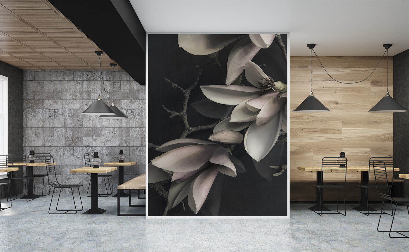 MAGNOLIA  - wallpaper mural - - This Magnolia photograph worked wonderfully as a large format wall mural in this restaurant area.