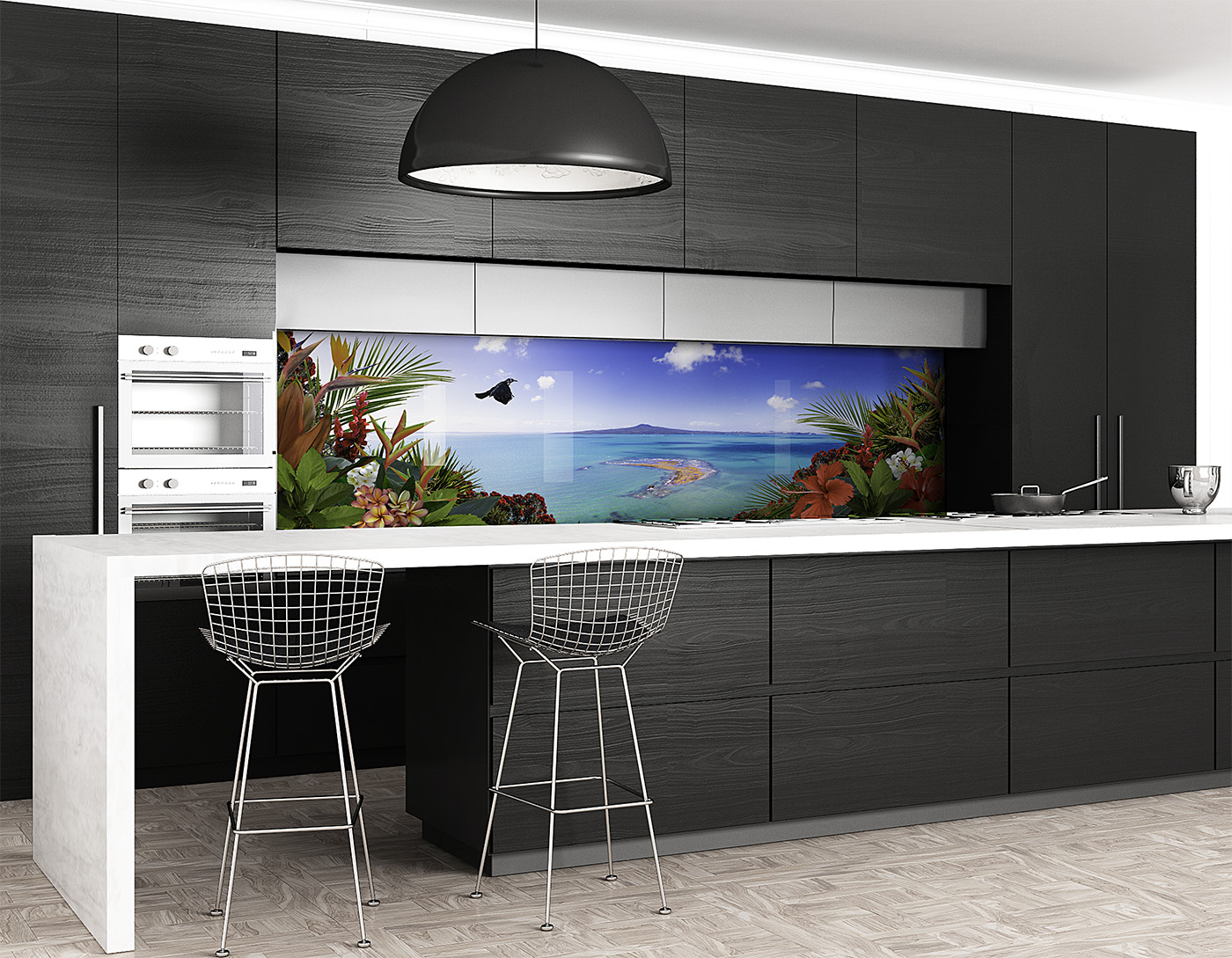 Printed \'images on glass\' kitchen splashbacks and glass wall ...