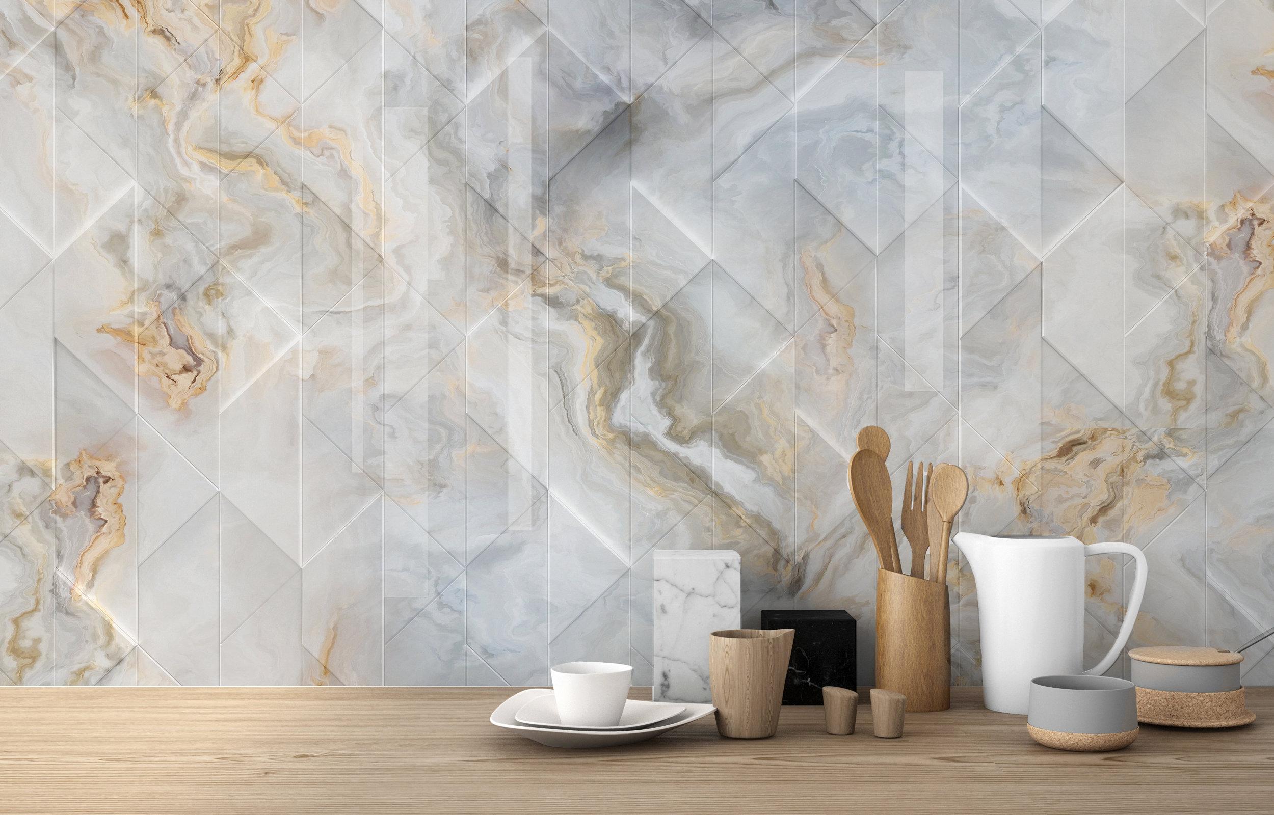 ARCH 2019-1a Marble Gold Vein Geometric glass splashback