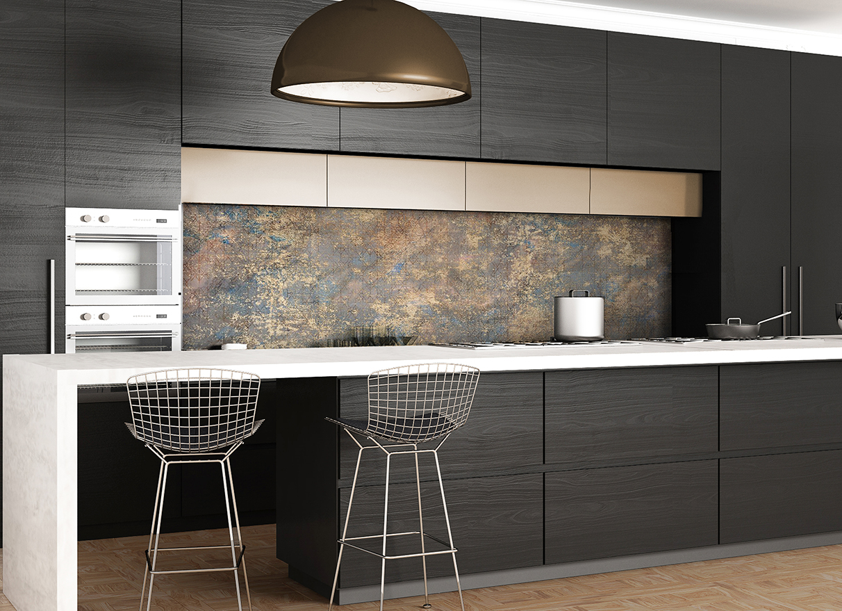 ARCH 2019-3 Gold and Blue texture glass splashback