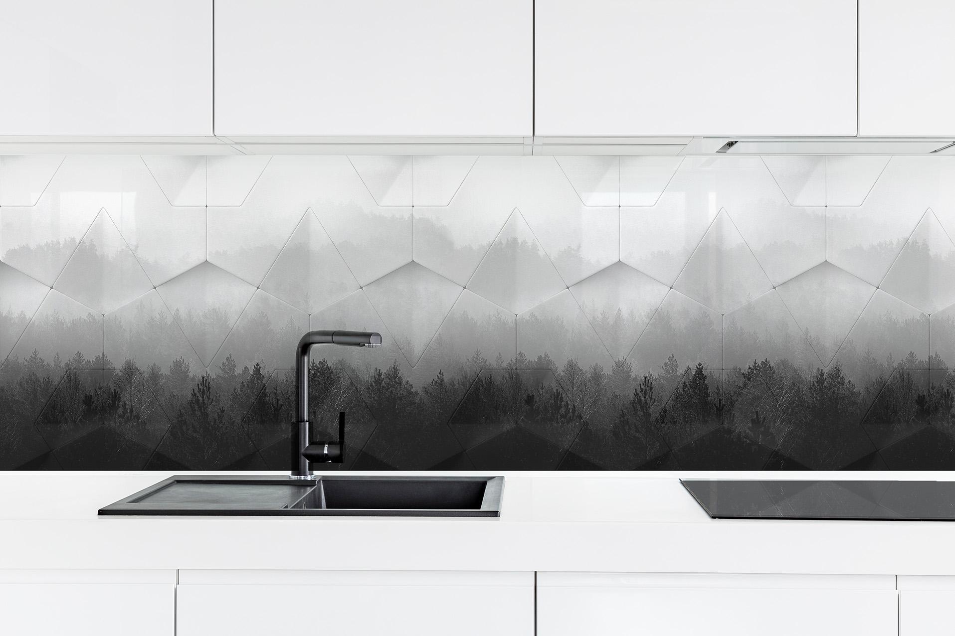 ARCH 2019-2a Geometric Pines BW glass splashback
