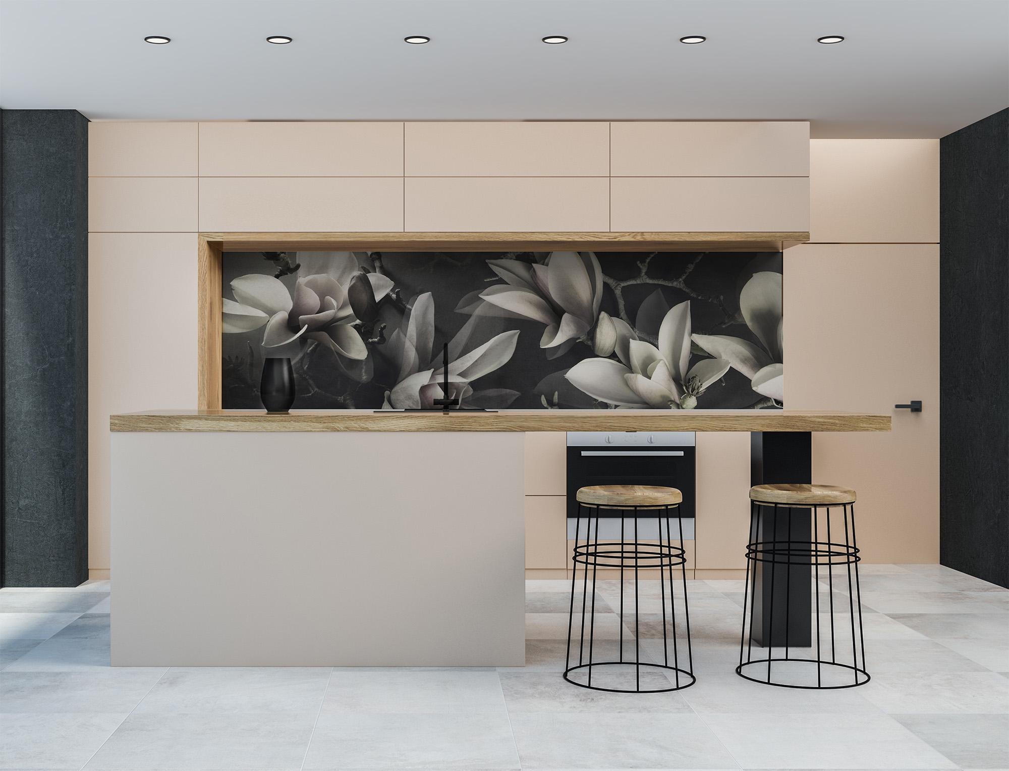 Magnolia printed glass kitchen splashback