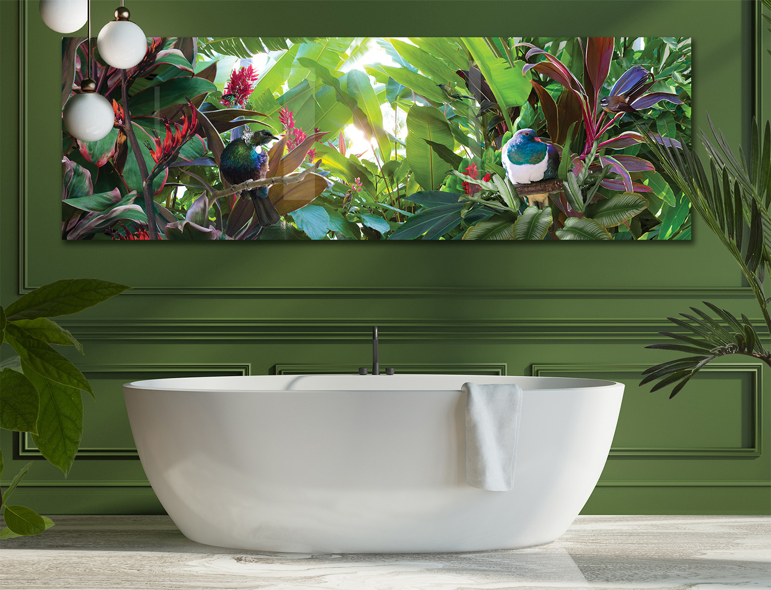 Tropical Paradise  glass wall artwork in bathroom, 2.5m long.
